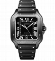Cartier Santos de Cartier Large ADLC Black Dial & Strap Men's Automatic Watch