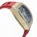 Richard Mille RM-010 Transparent Dial Rose Gold Red Rubber Automatic Mens Watch