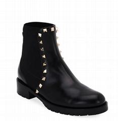 Valentino Garavani Rockstud Leather Boot Black Ladies Rockstud ankle boots