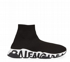 Balenciaga Men's Speed Sneakers with Logo on Sole men stretch knit sock sneakers