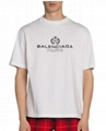 Balenciaga Men's Leaf Logo Crewneck T-Shirt Fashion cotton t-shirts