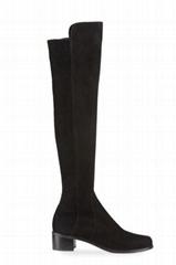 Stuart Weitzman Reserve Stretch-Suede Knee Boots  Women short block heel boots