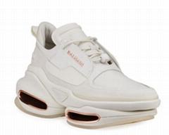 Balmain BBold Mixed Leather Fashion Sneakers women Flat chunky heel shoes
