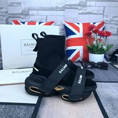 Balmain Men's B-Bold Double Logo Grip-Strap High-Top Sneakers Women sock boots