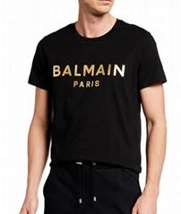 Balmain Men's Foil Logo T-Shirt men Crew long sleeve tee