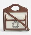BURBERRY Pocket mini logo print canvas and leather top handle bag