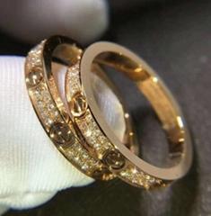 Cartier 18K pink gold Love Ring Diamond Paved ring thin Fashion wedding rings