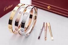 Cartier 18 k yellow gold 4 diamonds Love bracelet Fashion bracelets