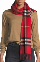 Classic Check Cashmere Scarf women red scarf