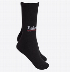 High socks with            logo at front ankle sock black