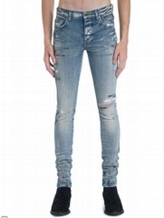 Amiri Men's Hand Painted Slit Knee Skinny Jeans cheap men jeans pants