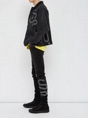 AMIRI Snake-embroidered distressed skinny jeans motorcycle jeans men on sale