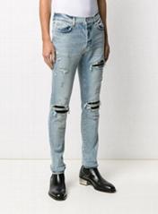 AMIRI distressed skinny-fit jeans men blue cotton-blend jeans