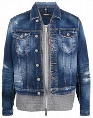 Dsquared2 men denim jacket dsq cotton blend button jean jacket