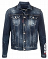 Dsquared2 faded denim jacket men classic long sleeves jean jacket