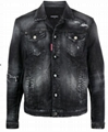 Dsquared2 ripped-detail denim jacket black