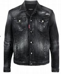 Dsquared2 ripped-detail denim jacket black men motorcycle Outwear
