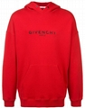 Givenchy Refracted logo embroidery cotton hoodie red