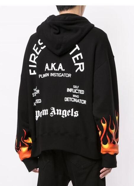 PALM ANGELS BLACK FLAMES MAN HOODIE