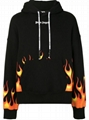 PALM ANGELS BLACK FLAMES MAN HOODIE