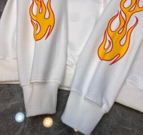 PALM ANGELS WHITE FLAMES MAN HOODIE