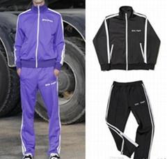 Palm Angels black tracksuit Men cotton jackets & pant sportwear