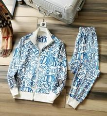 Monogram blue Alphabet graffiti zip tracksuit cheap men jacket & pant set