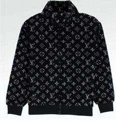 MONOGRAM JACQUARD BLACK FLEECE ZIP THROUGH JACKET    jackets