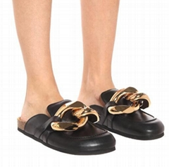 JW ANDERSON Embellished leather slippers Women JW ANDERSON Black Chain Slippers