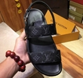 Louis Vuitton  Monogram Canvas And Leather Back Strap Sandals