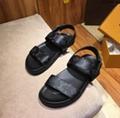 Louis Vuitton  Monogram Canvas And Leather Back Strap Sandals