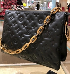 COUSSIN MM Leather Monogram embossed puffy lambskin strap bags