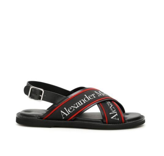 Alexander McQueen Cross Strap Sandals Men black leather sandals