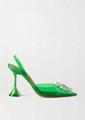 Amina Muaddi Begum Green PVC Clear Crystal Embellished Slingback Pump