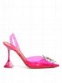 Amina Muaddi Begum Crystal-embellished Pvc Slingback Pumps pink