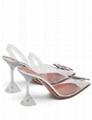 Amina Muaddi Transparent And Silver Tone Begum Crystal 95 PVC Slingback Pumps