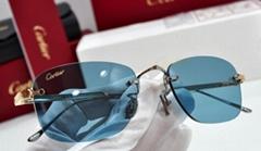 CARTIER Rimless Decor C Eyeglasses sunglasses Gold Platinum Frame Occhiali