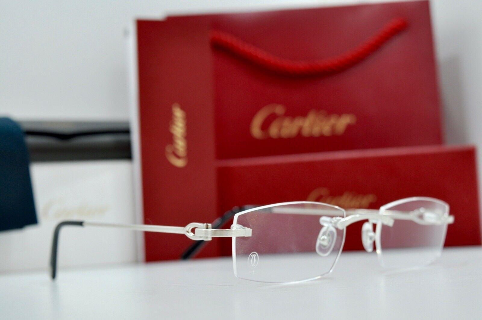 Cartier Harmattan Rimless Plates Frame Sunglasses Goggles Glasses C Decor