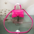 BALENCIAGA Hourglass calfskin leather bag top handle XS bag