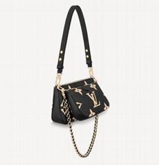 Multi Pochette Accessoires cross body bag    embossed black bags (Hot Product - 2*)