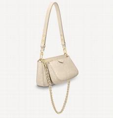 white Monogram leather bag               The Multi Pochette Accessoires bag