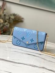 Felicie Pochette Blue Monogram leather Chain envelope bag clutch