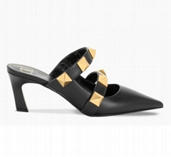 VALENTINO ROMAN STUD MULE IN CALFSKIN 65 MM Black Fashion heel mule