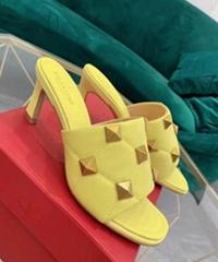 Roman Stud Heel Fashion calfskin rockstud mule heel