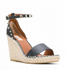 Garavani Rockstud espadrille sandals Women leather wedge sandals