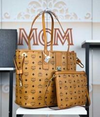MCM Liz monogram-print tote bag mcm brown shopping tote handbag