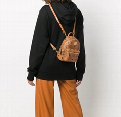MCM repeat logo backpack Mcm mini stud backpack