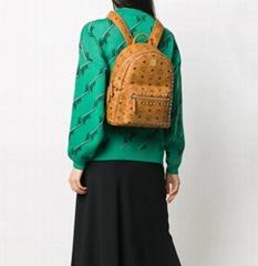 MCM Stark Visetos-print backpack Women leather backpack men gold-tone stud bag