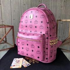 MCM Stark studded monogram backpack Men women fashion backpack top handle bag