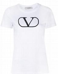 VLOGO-print T-shirt Women Cotton round neck short sleeves